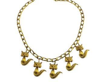 D'Orlan Gold Cat Necklace, D'Orlan Gold Cat Charm Necklace, D'Orlan Gold Chain Necklace with Cat Pendant