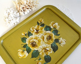 vintage gold floral tole tray rose tray floral serving tray