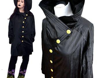 Vintage Avantgarde Vampire Collar Noir SILK Satin Parachute Metallic Grunge Studded Opera Coat 80s Kimono Bell Flared Tent Trapeze Cape M