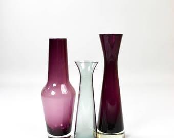 Mid century glass Vasen, crystal glass, smoked glass, vase violet, 60 years trio, vintage Interior
