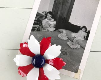 Gorgeous Vintage Red, White, and Blue Enamel Flower Brooch - OSVA0038