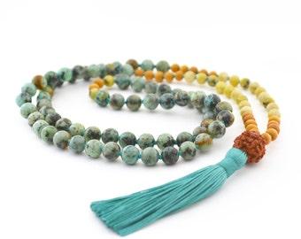 African Turquoise, Yellow turquoise, Sandalwood & Rudraksha Mala