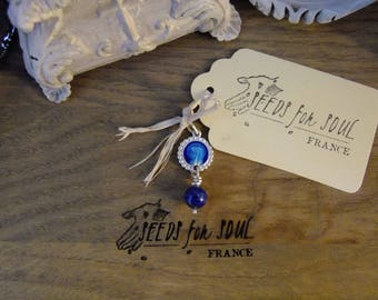 Virgin Mary French Handmade antique medal pendant in sterling silver with enamel and lapis lazuli - OAK french catholic saint