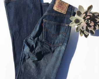 High Waist Bell Bottom Levis 502 Dark Wash Jeans