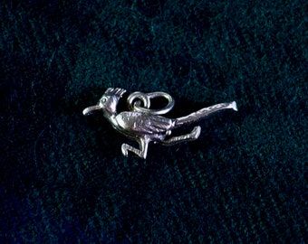 Tiny Roadrunner - Vintage Sterling Silver Pendant/Charm - Looney Tunes item or American Southwest/Mexico Piece