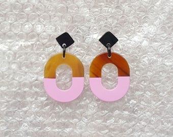 Buffalo Horn Earrings Pink Color QG03