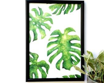 Monstera leaves A4 print // Nature print // Wall art // Botanical print // Tropical print // Watercolor print // Tropical leaves //art print