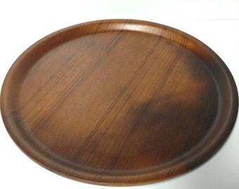 Round Wood Serving Tray 12 inch Round Vintage Platter