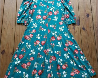 Vintage 80's M teal green floral red tulip 1/4 sleeve swing dress