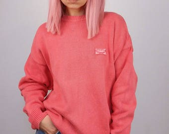 VICINI Vintage 80's Cotton Knit Oversized Jumper in Pink / size S-M oversize