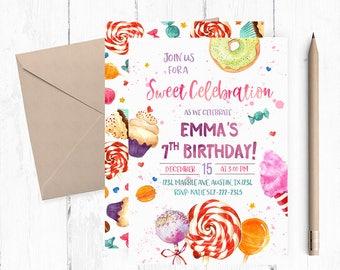 Sweet Celebration Invitation, Sweet Shoppe Invitation, Sweet Shoppe Birthday Party, Candy Invitation, Candyland Invites, Sweet Party invite,