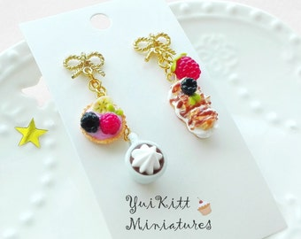 Sweets and Coffee Earrings/ French Cafe/ Berry Tart Earrings/ Eclair Earrings/ Berry Earrings/ Fake Food Earrings / Miniature Cup of Coffee