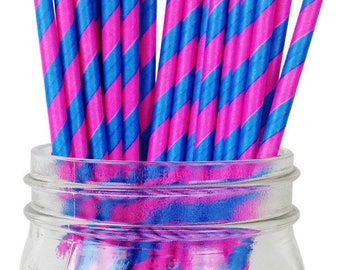 Fuchsia Pink and Blue Striped Paper Straws, Party Supplies, Party Decor, Bar Cart Cake Pop Sticks, Party Graduation