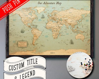 World Map Push Pin Rustic Style 13x19"