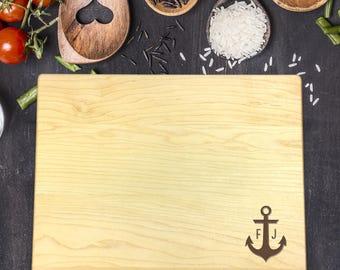 Personalized Cutting Board - Engraved Cutting Board, Custom Cutting Board, Wedding Gift, Housewarming Gift, Christmas Gift, Anchor, B-0056
