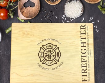 Custom Cutting Board, Custom Cutting Board Firefighter, Cutting Board Wood, Memorial Firefighter, Firefighter Prayer, Fire Wife, B-0110
