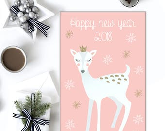 Greeting card printable, Card new year, New year card printable, New year 2018, Digital new year, Season's greetings card, New year print