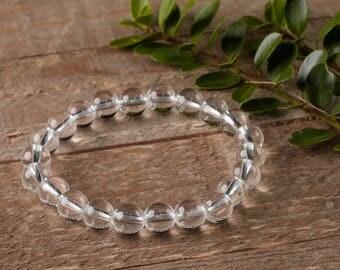 CLEAR QUARTZ Power Bracelet - Clear Quartz Bracelet, Clear Quartz Bead, Clear Quartz Jewelry, Healing Stone Bracelet, Healing Crystal E0648