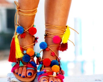 AIRLIA POM POM Sandals, Pom Pom, Leather Sandals, Gladiator sandals, Greek Sandals, Colorful Sandals, beaded sandals, boho leather shoes