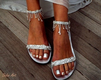 Crystal silver Bridal sandals, Leather sandals, Beach Wedding Sandals, wedding shoes, luxury sandals, Greek Sandal
