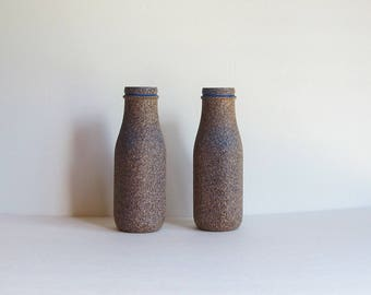 Brown Vase Set, Stone Vase Set, Flower Vase Set, Milk Jug Vase, Blue Bud Vase, Brown Bud Vase, Stone Vase Set, Painted Vases, Gift for Mom