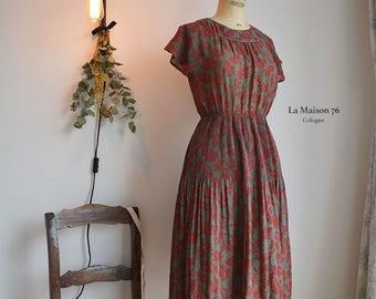 Vintage Boheme Dress with leave Alloverprints from Japan