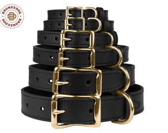 Black Dog Collar Leather Personalized Brass Buckle Puppy Small Medium Large