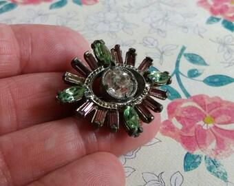 Vintage Late 1920s Suffragette Brooch - Base Metal - Paste Violet Green White Stones