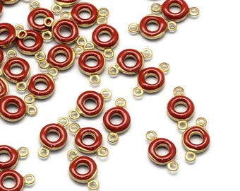 25 connectors in the shape of Donut brass Antique gold with enamel red 11mm