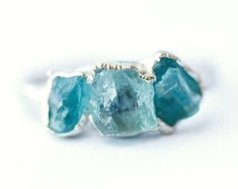 Silver Aquamarine Ring // March Birthstone