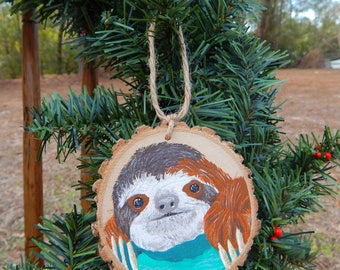 Sloth Hand painted wood slice ornament