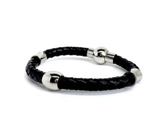 Black Leather Stainless Steel Bracelet for Men. Italian Design. Birthday Gifs for Men. Gift Box Included. Xmas Gifts. 8in, Genuine Leather