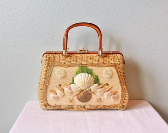 Vintage Princess Charming by Atlas Wicker Seashell Handbag