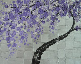 Discounted Impasto Purple Tree in Oils on Silver 20 x 16 Pallet Knife Oil Painting, Modern Impasto Pallet Knife, Abstract Purple Tree Blooms