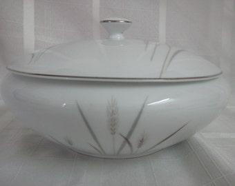 Platinum Wheat Round covered vegetable bowl - Fine China - Japan