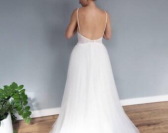 Spaghetti Strap Low Back Lace Boho Style Wedding Dress