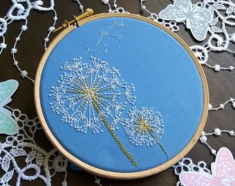 """Embroidery KIT - Embroidery pattern - embroidery hoop art - """"dandelion"""" - Traditional embroidery kit"""