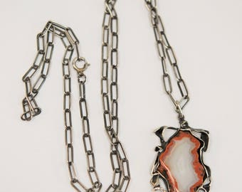 Sterling Necklace with Agate Pendant