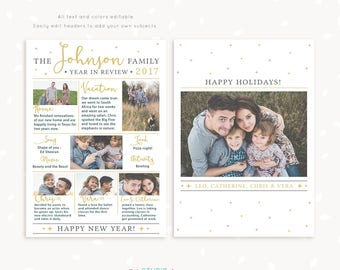 Year in review Christmas card template, 2017 overview, Year in review template, Year in review holiday card, Year in review card, new year