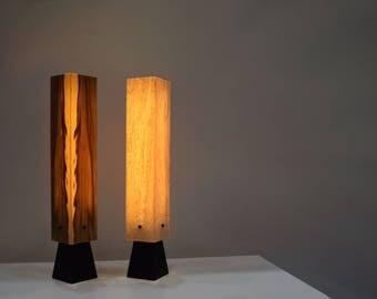 Tischleuchte Tischlampe Holz Furnier LED BrennHolz Design