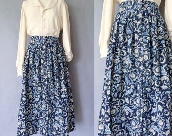Vintage blue button down midi/maxi paisley skirt women's size S/M/L