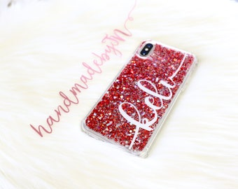 Personalized Red Glitter Phone case iPod Touch 6th Generation Case iPod Touch 5th Generation case Personalized Gift iPhone case