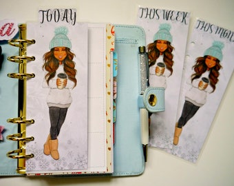 Winter Girl Dark Skin Tone Today/This Week/This Month Page Marker For Ring Bound Planners & Happy Planners
