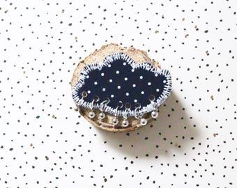This brooch Bohemian blue cloth Navy, Bohemian brooch, brooch, fabric, retro brooch, poetic brooch small brooch