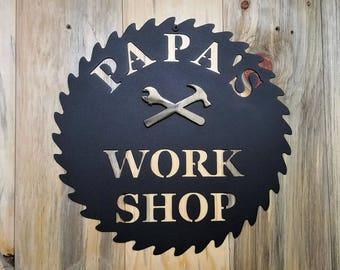 Papas Workshop   Metal Wall Art Sign Plaque   Crescent Wrench And Hammer  For Grandpa, Grandfather, Godfather