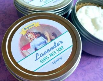 Organic Lavender Soap / Handmade Soap / Lavender / Goats Milk Soap /  - 3 oz . in tin