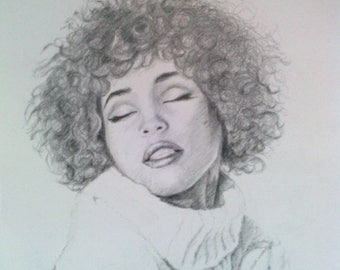 Whitney Houston - pencil drawing - realistic portrait- original artwork signed by the author - graphite - gift - custom gift