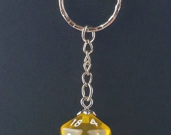 D20 Dice Dungeons & Dragons RPG Fantasy Clear Yellow Keychain
