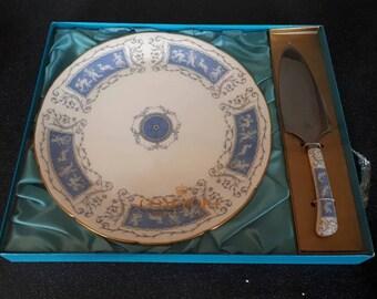 Coalport Fine Bone China Cake Plate and Knife - Revelry