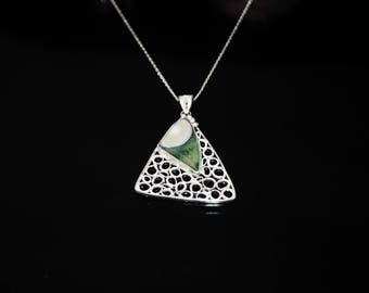 Ocean Jasper Necklace, Handmade Silver Ocean Jasper Necklace, Filigree Necklace, Gemstone Necklace, NJ0048